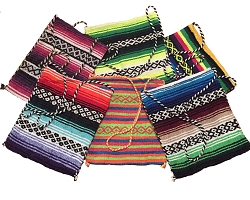 Handmade Mexican Blanket Tote Bag - Assorted Colors