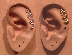 HANDMADE STERLING SILVER OR 14K GOLD-FILLED WIRE WRAPPED EAR IVY MINI FOR UPPER EAR CARTILAGE PIERCING