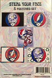 GRATEFUL DEAD STEAL YOUR FACE POSTCARD PACKS BY YUJEAN - 5 POSTCARD SET