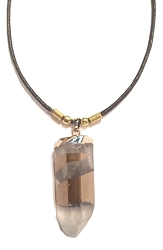 Genuine X-Large Rough Cut Gold Stripe Clear Quartz Pendant Necklace - Gold Dipped Top