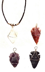 GENUINE WIRE WRAPPED HAND-CARVED SEMI PRECIOUS STONE ARROWHEAD PENDANT NECKLACE