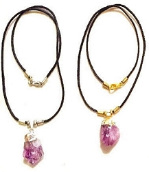 GENUINE ROUGH CUT SILVER OR GOLD TOPPED AMETHYST STONE NECKLACE - WITH YOUR CHOICE OF CORD COLOR AND LENGTH