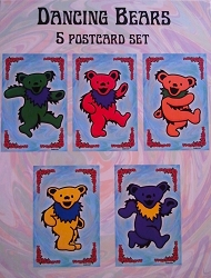 GRATEFUL DEAD FIVE DANCING BEARS POSTCARD PACKS BY YUJEAN - 5 POSTCARD SET
