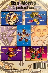 GRATEFUL DEAD FIVE Grateful Dead POSTCARD PACKS WITH ARTWORK BY DAN MORRIS - 5 POSTCARD SET