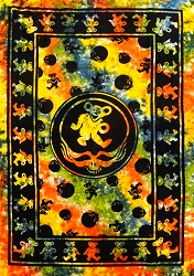 Grateful Dead TIE DYE TAPESTRY BED COVER - DANCING BEARS AND STEAL YOUR FACE PRINT