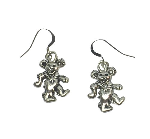Handmade Dancing Bear Pewter Pendant Earrings with Sterling Silver Ear Wires