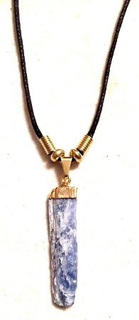Genuine Blue Kyanite Pendant With Gold Dipped Top Necklace