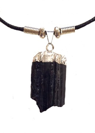 ROUGH CUT SILVER TOP TOURMALINE STONE NECKLACE