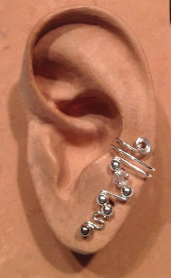 HANDMADE SS OR 14KGFWIRE WRAPPED EAR IVY HALF CUFF WITH GENUINE AUSTRIAN CRYSTAL