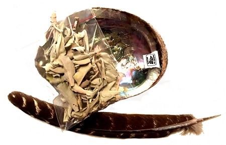 SACRED SAGE SMUDGE KIT - with 1/4 oz of loose white sage, Abalone shell, a feather and instructions