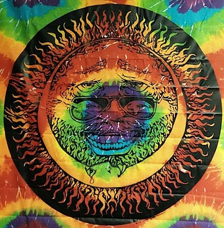 JERRY SUN MOON TIE DYE PRINT WALL HANGING WITH BLACK SILK SCREEN DESIGN