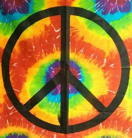 PEACE SIGN TIE DYE PRINT WALL HANGING WITH BLACK SILK SCREEN DESIGN  (COPY)