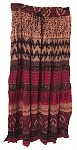 Hippie Skirt #1 - Long India Print Crinkle Broomstick Skirt (red, green, cream, black and tan)