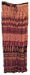 Hippie Skirt #6 - Long India Print Crinkle Broomstick Skirt (light tan, purple, red, brown and black) …
